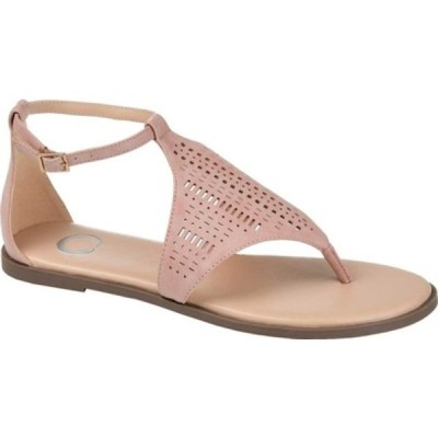 ジャーニーコレクション サンダル シューズ レディース Niobi Ankle Strap Thong Sandal (Women's) Pink Perforated Faux Leather