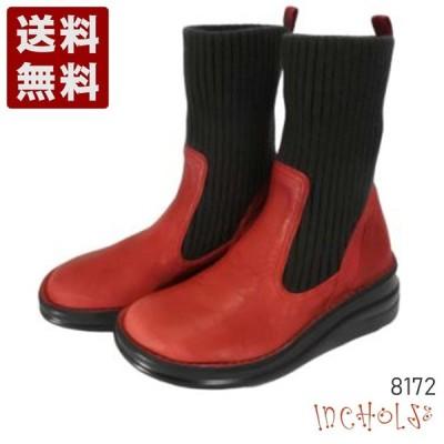 【インコルジェ 8172 レッド】ヒール高ショートニットブーツ