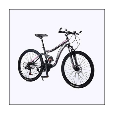 HCMNME Durable Bicycle, Outdoor Sports Mountain Bike 2130 Speeds 26 Inch Double Disc Brake Suspension Full Suspension Antislip Bikes with Hi
