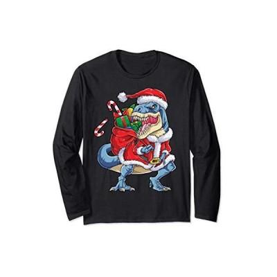 Dinosaur Christmas Santa Claus T rex Xmas Gifts Men Women 長袖Tシャツ