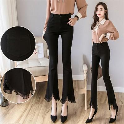 韓国ファッション 新品 大人気 新品 春 ハイウエスト アウターレギンス スリム ズボン9分丈
