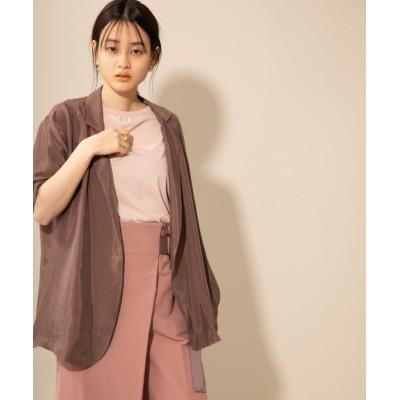 【ランドワーズ】 キュプラハーフスリーブシャツジャケット レディース ブラウン F LANDWARDS