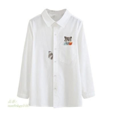 新しい女性シャツ刺繍キツネ長袖綿シャツ女性ターンダウン襟レディース Ol シャツ グループ上 レディース衣服 から ブラウス シャツ 中