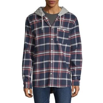 ジャック アンド ジョーンズ メンズ シャツ トップス Plaid Hooded Shirt Navy Blazer