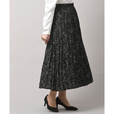 スカート 絵画フラワープリントプリーツスカート