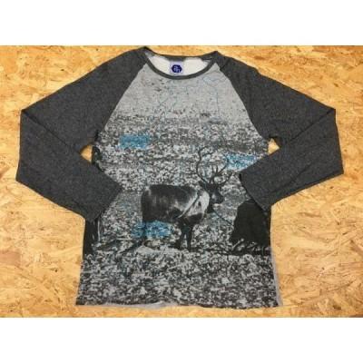 ABAHOUSE アバハウス サイズ2 メンズ カットソー 裏毛 ラグラン ラウンドネック 放牧 地図 前面ビッグプリント 長袖 綿100% グレー×薄青