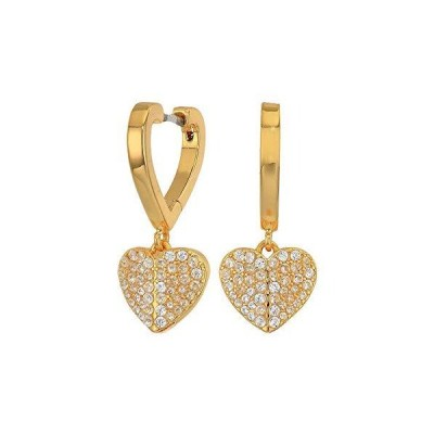 Kate Spade New York Heart To Heart Pave Huggies Earrings Clear/Gold One Size【並行輸入品】