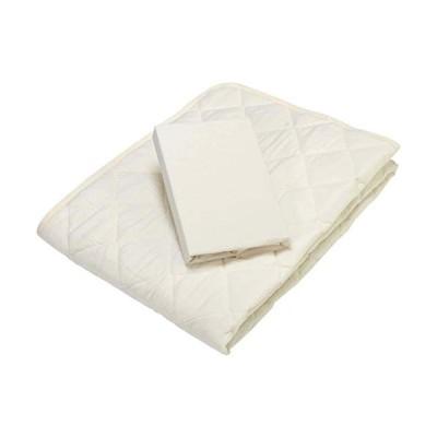 京都 西川 ベッドパッド ベッドシーツ 2点セット シングル 洗える 清潔 簡単 便利 アイボリー 05527203