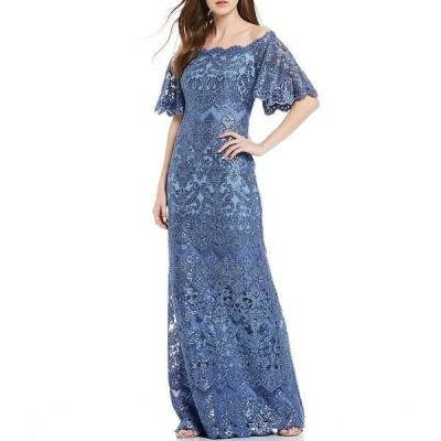 タダシショージ レディース ワンピース トップス Off-the-Shoulder Sequin Lace Scalloped Hem Gown Blue Stone