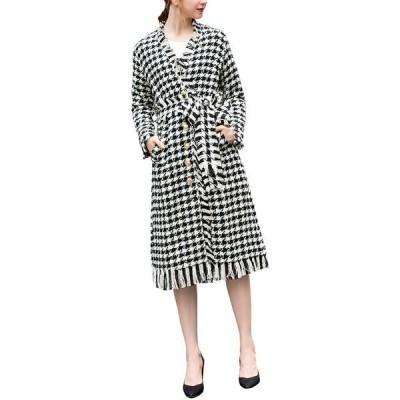バーリコ ワンピース トップス レディース BURRYCO Wool-Blend Coat black and white grid
