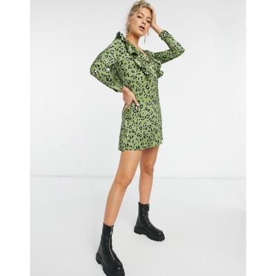 ナーナー NaaNaa レディース ワンピース ワンピース・ドレス plunge ruffle detail long sleeve dress in green leopard カーキ