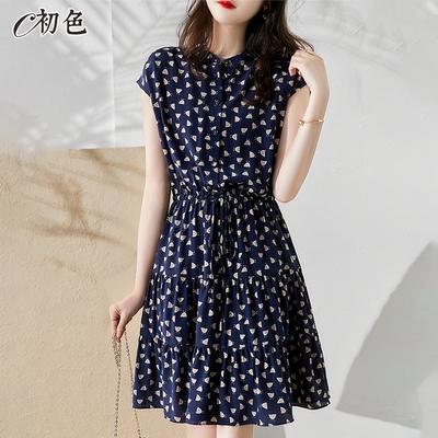 初色  飄逸垂感印花洋裝-藏藍色-(M-XL可選)