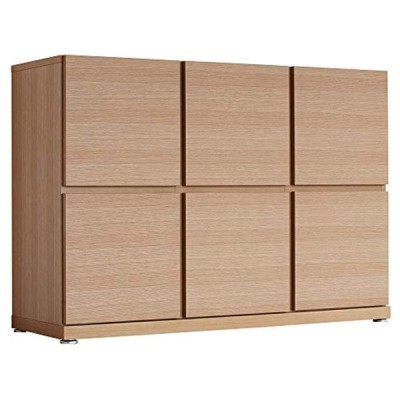 キャビネット サイドボード 扉付き 木製 オーク 国産 完成品 大川家具 2段3列 幅120cm 奥行40cm ペルル