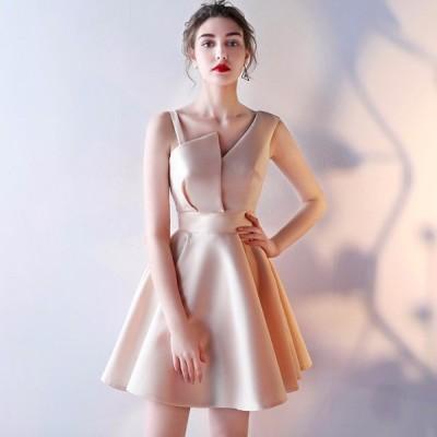 パーティードレス 韓国 20代 30代 結婚式 ミニ丈 ノースリーブ アシンメトリー 肩ストラップ お呼ばれ 二次会 披露宴