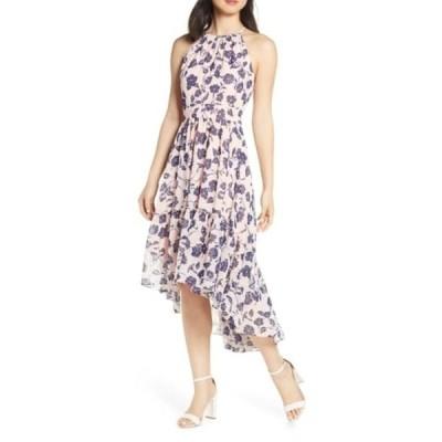 エリザジェイ レディース ワンピース トップス Floral Ruffle High/Low Halter Dress BLUSH