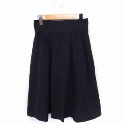 【中古】シーディーエスベーシック C.D.S BASIC スカート ギャザー 起毛 ロング 無地 シンプル M 黒 /FT27 レディース