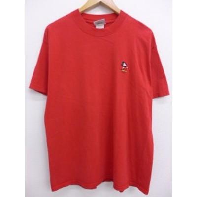 古着 Tシャツ ディズニー DISNEY ミッキー MICKEY MOUSE 刺繍 赤 レッド Lサイズ 中古 メンズ 半袖 Tシャツ 古着