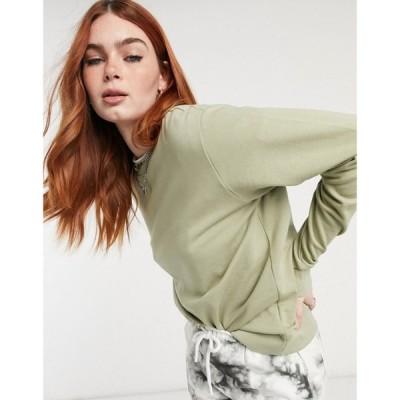 エイソス ASOS DESIGN レディース スウェット・トレーナー トップス Asos Design Ultimate Organic Cotton Sweatshirt In Olive グリーン