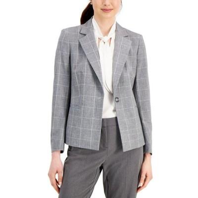 カスパール Kasper レディース スーツ・ジャケット アウター Petite Plaid Single-Button Blazer Grey White