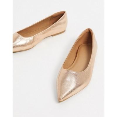 エイソス レディース サンダル シューズ ASOS DESIGN Lucky pointed ballet flats in rose gold Rose gold
