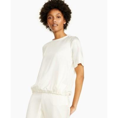 アルファニ カットソー トップス レディース Petite Short-Sleeve Satin Top, Created for Macy's Antique White