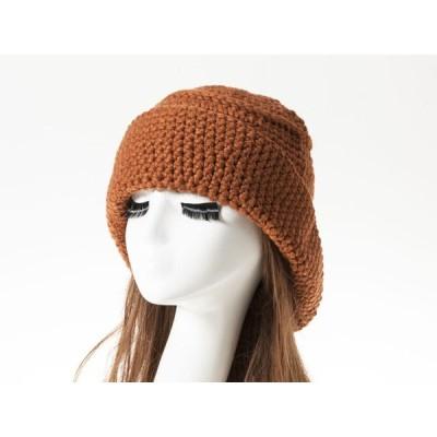 冬 ファッション 手編み風 防寒 ニット帽 クラッシャーハットタイプ 帽子 男女兼用#ブラウン