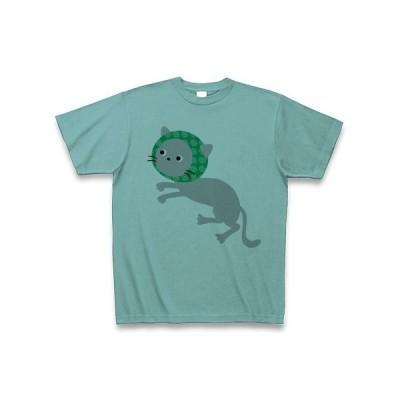 どろぼうねこ(灰猫) Tシャツ(ミント)