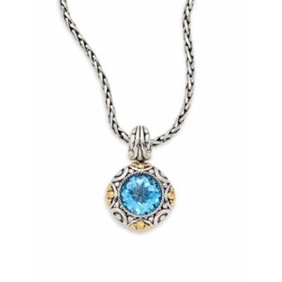 エフィー レディース ジュエリー Blue Topaz, Sterling Silver &amp 18K Yellow Gold Pendant Necklace
