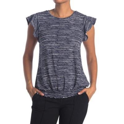 アドリアナ パペル レディース Tシャツ トップス Printed Moss Crepe Ruffle Sleeve Top NVYWAVESTR