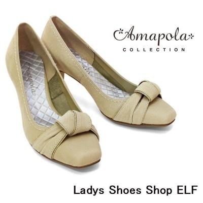 AMAPOLA 靴 アマポーラ/スクエアトゥ/ハイヒール/リボンモチーフ/パンプス/6417