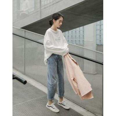 オーバーサイズカットソー ビッグシルエット ロンT Tシャツ ワイドスリーブ 長袖 トップス レディース 韓国 オルチャン ファッション 春