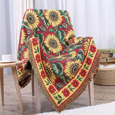 向日葵柄 ソファーカバー 両面使用 綿100% 毛布 マルチカバー 長方形 正方形 1-4人掛け 北欧 おしゃれ 防滑 通用型 カウチ保護 洗濯可 防塵