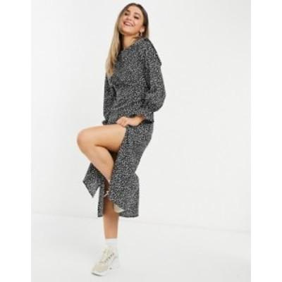 ニュールック レディース ワンピース トップス New Look shoulder pad midi dress with splits in black Black pattern