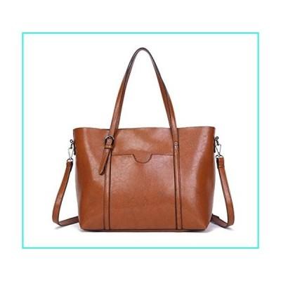 【新品】Dreubea Women's Soft Leather Handbag Big Capacity Tote Shoulder Crossbody Bag Upgraded Brown(並行輸入品)