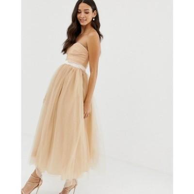 ドリー&デリシャス Dolly & Delicious レディース ワンピース ワンピース・ドレス bandeau full prom midaxi dress in tan Tan
