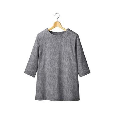 日本製 清涼ゆったりらくちんプルオーバー 高島ちぢみ 七分袖 コットン ロング丈 軽量 涼しい 丸首 (グレー LL-3L)