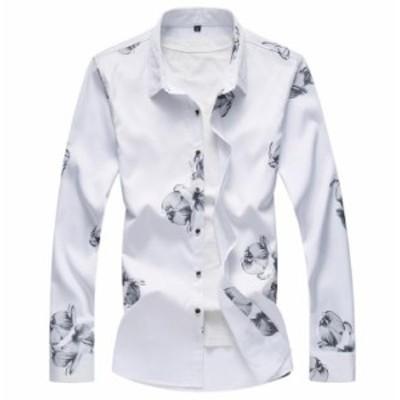 超人気品!メンズ 花柄シャツ お洒落 長袖 花柄 シャツ カジュアルシャツ大きいサイズもありtシャツ メンズ 長袖春夏秋対応!4色展開