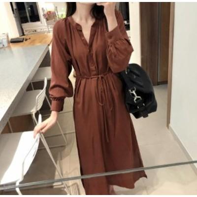 韓国 ファッション レディース ワンピース ロング Vネック スリット リボン 無地 長袖 ゆったり カジュアル シンプル 大人可愛い