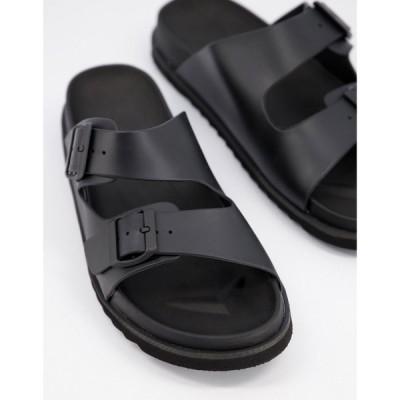 エイソス ASOS DESIGN メンズ サンダル シューズ・靴 sandal in black rubber with buckle ブラック