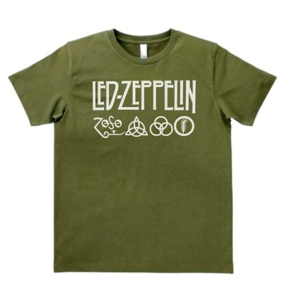 音楽・バンド・ロック・シネマ  Tシャツ LED-ZEPPELIN カーキー MLサイズ