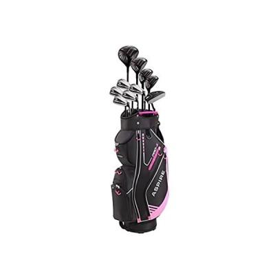 Aspire PRO-X ゴルフセット (女性用、右利き、チタンF Dr、3W、4UT、5UT、7I、8I、9I、PW、SW、PT、ゴルフバッグ1点、