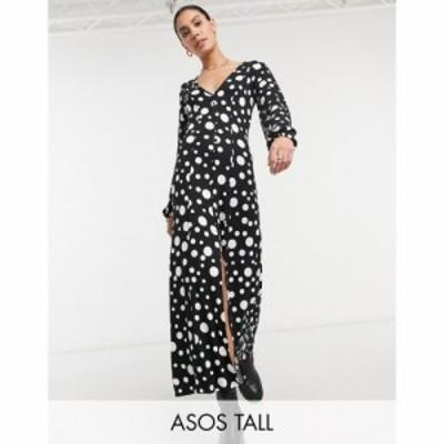 エイソス ASOS Tall レディース ワンピース マキシ丈 ASOS DESIGN Tall maxi tea dress in half and half black and white spot print