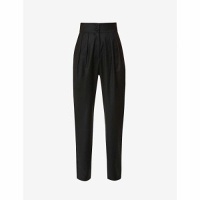 マテリエル MATERIEL レディース ボトムス・パンツ Pleated tapered-leg high-rise wool trousers BLACK