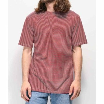 ジン ZINE メンズ Tシャツ トップス Zine Micro Red and White Striped T-Shirt Red