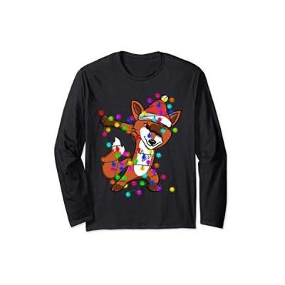 ダビングフォックスはサンタ帽子を身に着けている - クリスマスライト - おかしいクリスマスのギフト 長袖Tシャツ