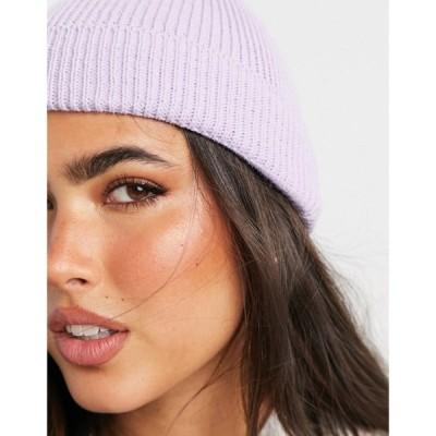 エイソス ASOS DESIGN レディース ニット ビーニー 帽子 fisherman rib beanie hat in lilac ライラック