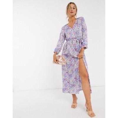 ヴェロモーダ レディース ワンピース トップス Vero Moda wrap maxi dress with tie side in blue floral Multi