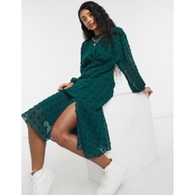 エイソス レディース ワンピース トップス ASOS DESIGN midi tea dress with batwing sleeve in textured polkadot in forest green Bott