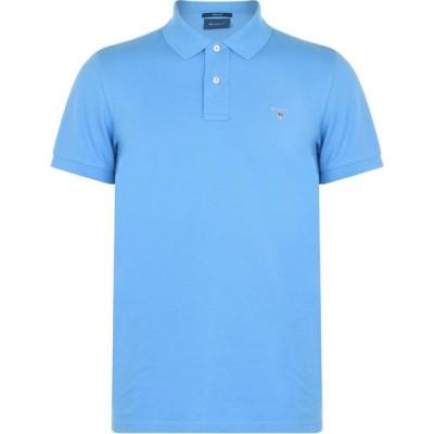 ガント Gant メンズ ポロシャツ 半袖 トップス Original Short Sleeve Rugger Polo Shirt Blue