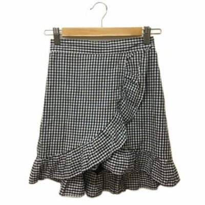 【中古】ダブルシー WC スカート フレア ラップ風 インナーパンツ付き ミニ フリル ギンガムチェック F 黒 白